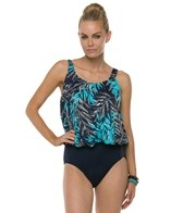 Penbrooke Palm Glitz Mastectomy One Piece Blouson
