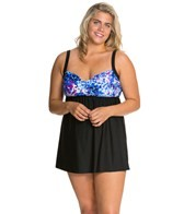 Delta Burke Plus Size Falling Petals Draped Swim Dress