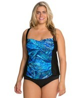 Delta Burke Plus Size Tigress Twist Shirred Tankini Top