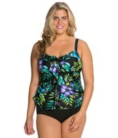 Delta Burke Plus Size Cayman Islands Ruffle Tankini Top
