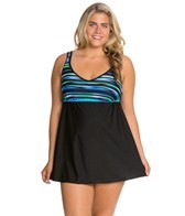 Delta Burke Plus Size Jet Setter V-Neck Swim Dress