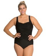Delta Burke Plus Size Solid Draped One Piece