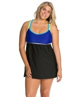Delta Burke Plus Size Sporty Solid Racerback Swim Dress