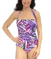 Penbrooke Mastectomy Graphic Elements Halter Tie Bandeau One Piece