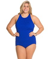 Penbrooke Krinkle Plus Size High Neck Mio One Piece