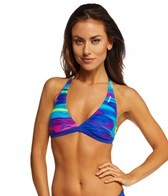 Reebok Fitness Claire Blue Reversible Print Halter Top