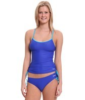 Reebok Fitness Holly Side Shirred Solid Tankini Top