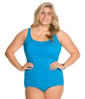 Penbrooke Krinkle Plus Size Scoop Neck Sheath One Piece