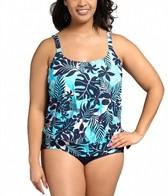 Beach House Plus Size Newport Tropical Floral Side Tie Blouson Tankini Top