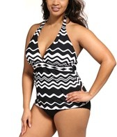 La Blanca Plus Size In The Groove Halter Goddess Cup Tankini Top