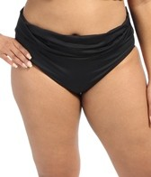 La Blanca Plus Size Solid Shirred Band Hipster Bottom