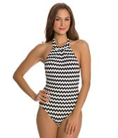 Seafolly Mod Club High Neck Black & White One Piece