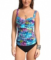 Profile by Gottex Royal Peacock Underwire D/E Cup Tankini Top