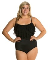 Longitude Meshing Around Plus Size Six Tier Tank One Piece