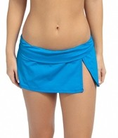 La Blanca Island Goddess Shirred Band Slit Swim Skirted Hipster Bikini Bottom