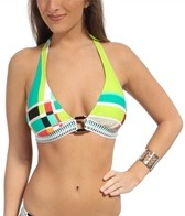 Trina Turk Color Block Plaid Buckle Front Halter Top
