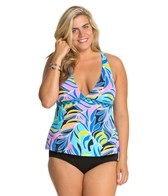 Anne Cole Plus Size Royal Hawaiian X-Back Tankini Top
