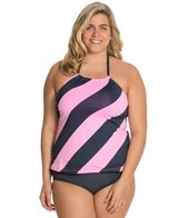 Anne Cole Plus Size Royal Hawaiian High Neck Tankini Top