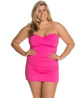 Anne Cole Plus Size Twist Front Bandeau Swim Dress