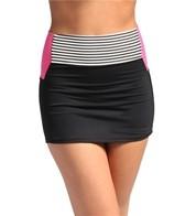 Anne Cole Mini Stripe Color Block High Waist Swim Skort Bottom
