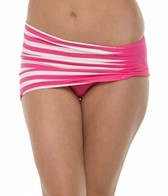 Anne Cole Stripe & Tuck Asymetric Side Shirred Swim Skirt Bottom