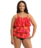 Topanga Sunrise Plus Size Triple Tier Mastectomy Tankini Top