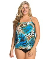 Topanga Liquid Gold Plus Size Bandeau Blouson Top