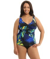Topanga Traveler Palms Plus Size Twist Bra Tankini Top