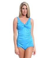 Tuffy Shirred Front Twist Bra One Piece