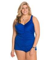 Tuffy Plus Size Shirred Front Girl Leg One Piece