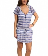 J. Valdi Tie Dye Stripe Button Front Blouson Dress