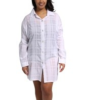 J. Valdi Gauze Plaid Plus Size Button Down Shirt
