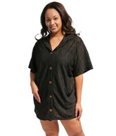 J. Valdi Underwater Jacquard Plus Size Button Front Hoodie Cover Up