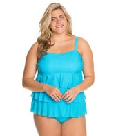 Fit4U Boy Meets Girl Plus Size Triple Tiered Bandeau Tankini Top