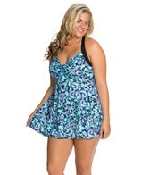 Fit4U Petal Pusher Plus Size Sweetheart H Back Swim Dress