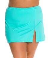 Fit4U Solid Plus Size Swim Skirt with Slit