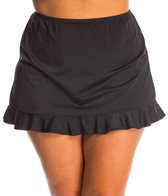 Fit4U Solid Plus Size Ruffled Swim Skirt