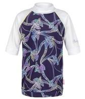 Platypus Girls' Tie Dye Birds S/S Rashguard (8-14)
