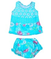 iPlay Girls' Aqua Shell Garden Mix 'n Match Swim Diaper Tankini Set (6mos-3yrs)
