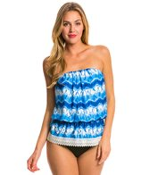 Eco Swim Zig Zag Tie Dye Gathered Bandeau Bikini Top