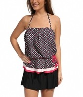 Eco Swim Dot Layered Gathered Bandeau Top