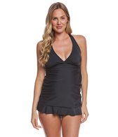 Prego Solid Ruffle Mini Tankini Set