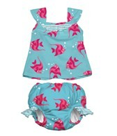 iPlay Girls'  Aqua Angelfish Swim Diaper Tankini Set (6mos-3yrs)