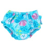 iPlay Girls' Aqua Shell Garden Ruffle Swim Diaper (6mos-3yrs)