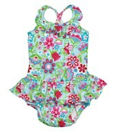 iPlay Girls' Aqua Calypso Ruffle Swim Diaper Tanksuit (6mos-3yrs)