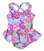 iPlay Girls' Lavender Toucan Ruffle Swim Diaper Tanksuit (6mos-3yrs)