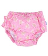 iPlay Girls' Pink Posies Ruffle Snap Swim Diaper (0mos-4yrs)