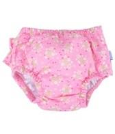iPlay Girls' Pink Posies Ruffle Snap Swim Diaper (0mos-4yrs)