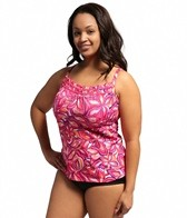 South Point Seaside Floral Plus Size Pina Colada Tankini Top