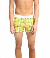 Sauvage Men's Como Italia Plaids Retro Square Cut Boardshort